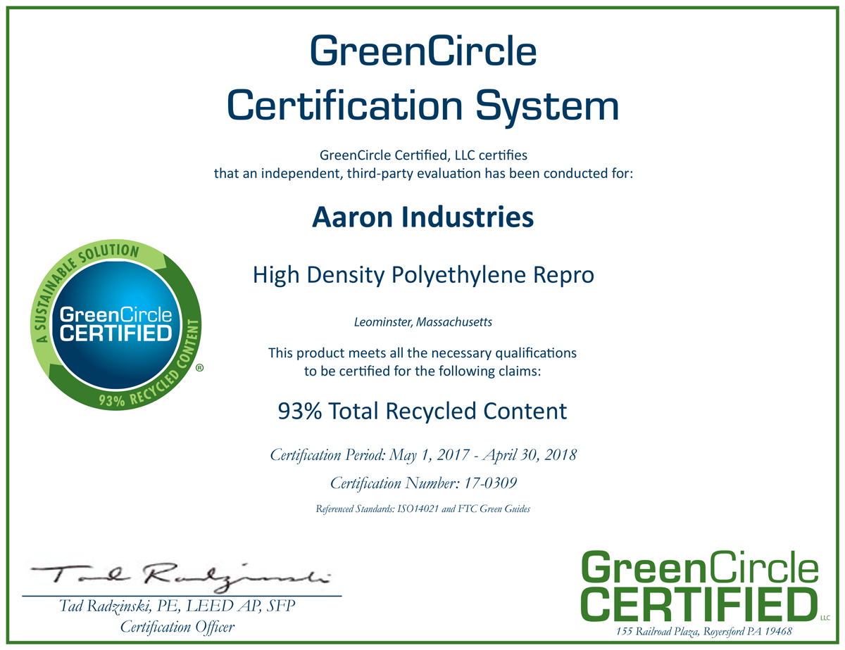 High Density Polyethylene Repro | Aaron Inc